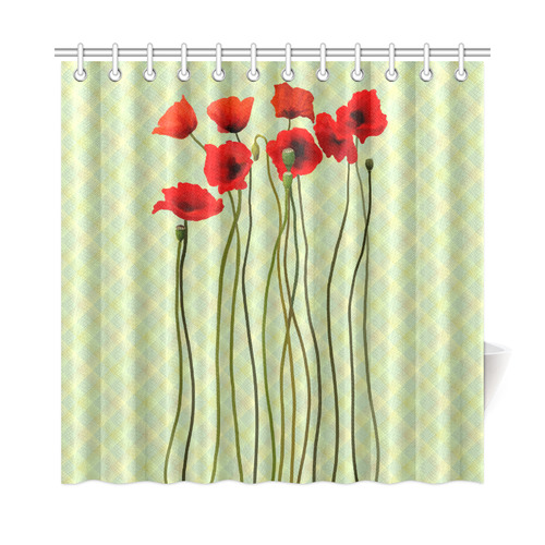 Pastel Lime Orange Crisscross Stripes With Poppies Shower Curtain 72x72