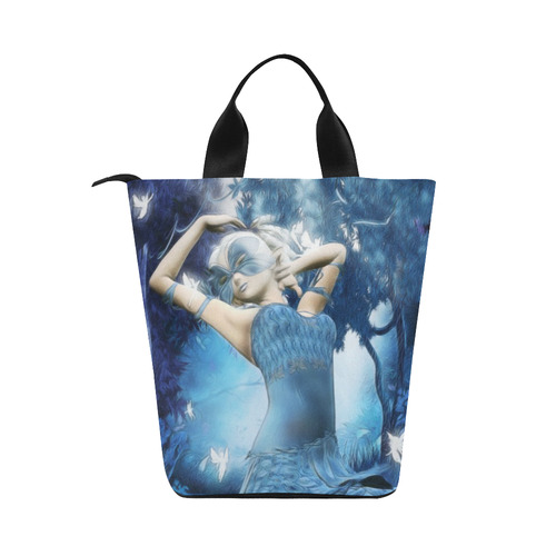 Lady Blue Nylon Lunch Tote Bag (Model 1670)