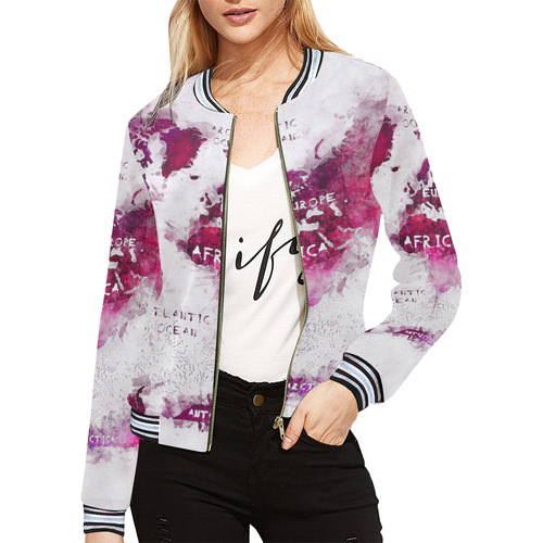 World map all over print bomber jacket for women model h21 id world map all over print bomber jacket for women model h21 gumiabroncs Choice Image
