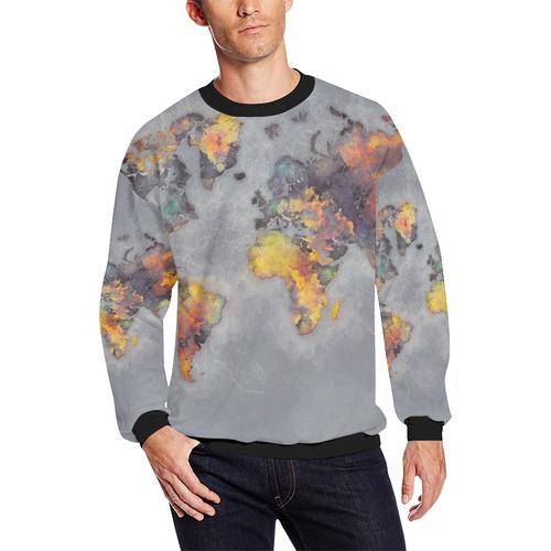 World Map Grey Map Worldmap Men S Oversized Fleece Crew Sweatshirt