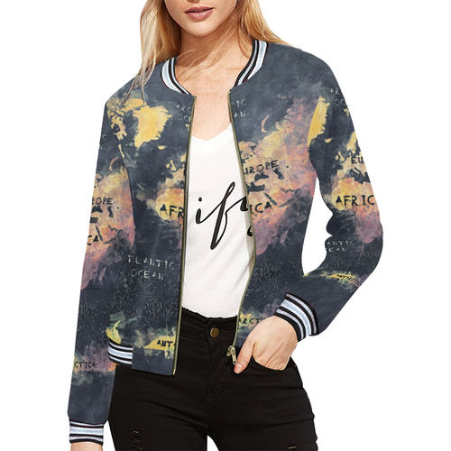 World map oceans and continents all over print bomber jacket for world map oceans and continents all over print bomber jacket for women model h21 gumiabroncs Images