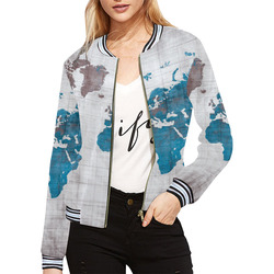 World map oceans and continents all over print bomber jacket for world map all over print bomber jacket for women model h21 gumiabroncs Image collections