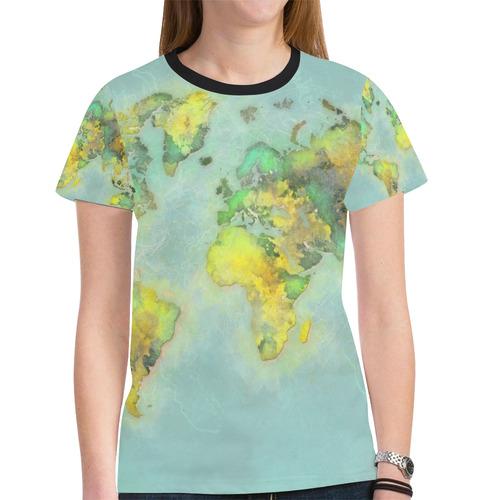 World Map Green Map Worldmap New All Over Print T Shirt For Women