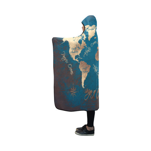 world map Hooded Blanket 50''x40''