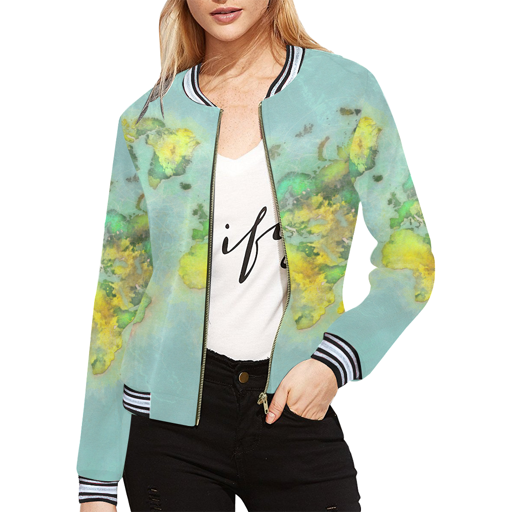 world map green #map #worldmap All Over Print Bomber Jacket for Women  (Model H21) | ID: D2373367