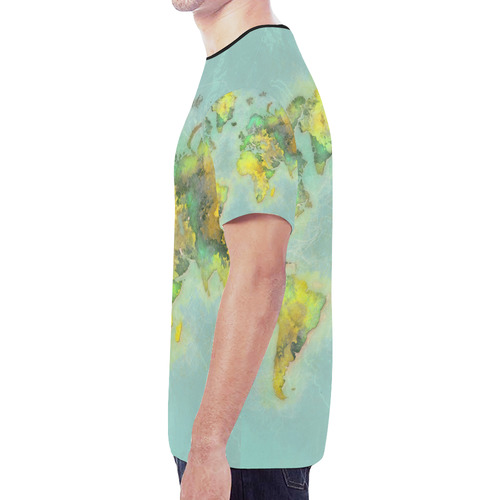 world map green #map #worldmap New All Over Print T-shirt for Men (Model T45)