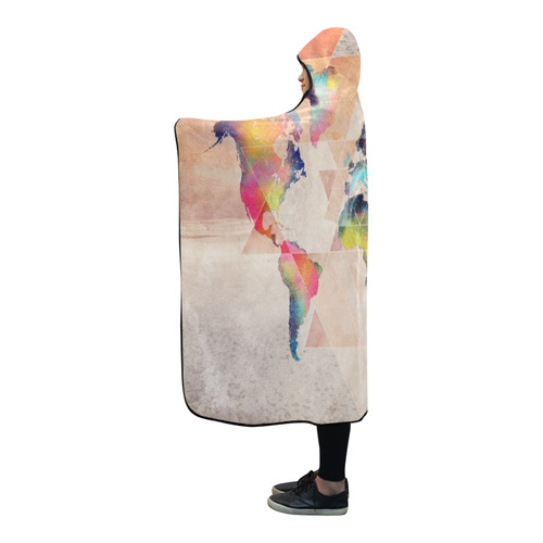 world map Hooded Blanket 80''x56''