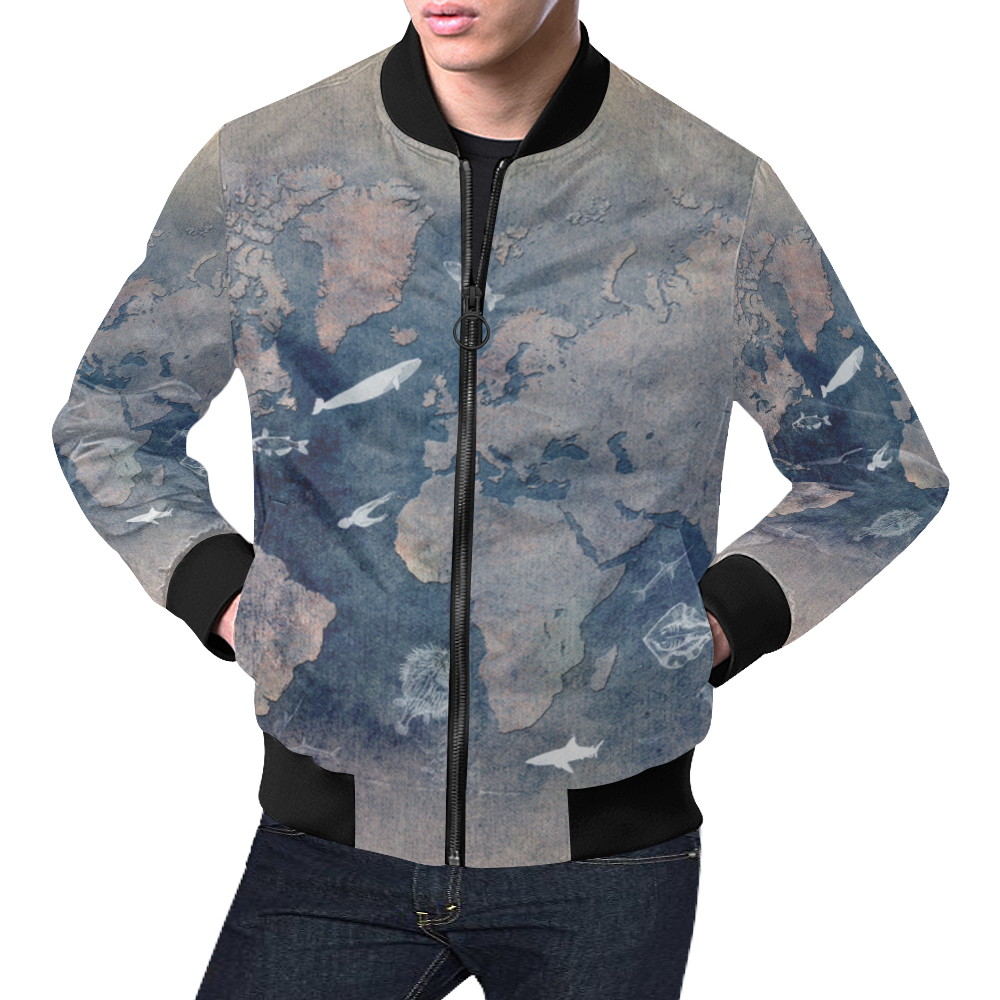 world map 26 All Over Print Bomber Jacket for Men (Model H19) | ID: D2373816
