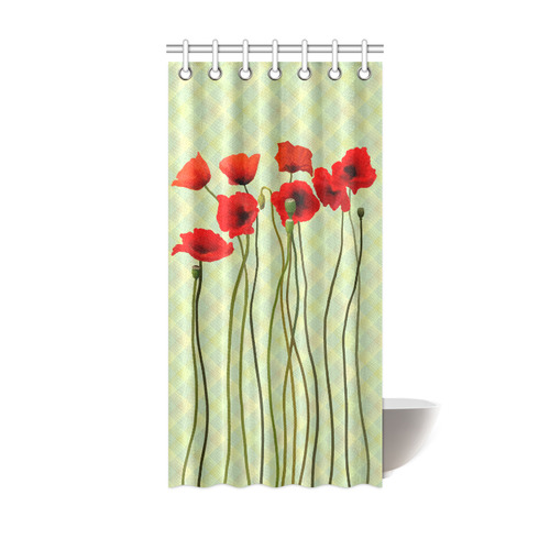 Pastel Lime Orange Crisscross Stripes With Poppies Shower Curtain 36x72