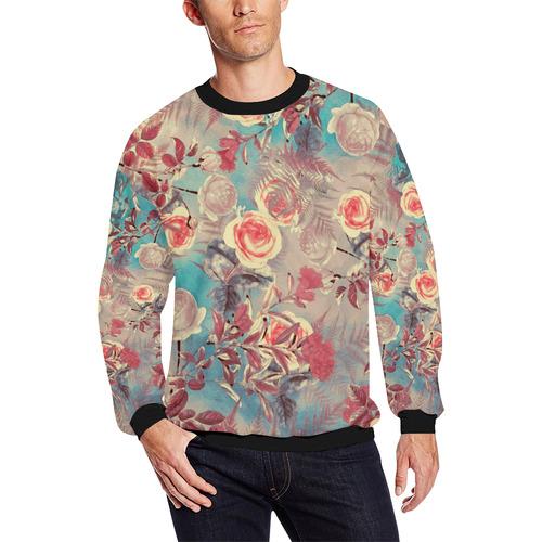 flowers 8 All Over Print Crewneck Sweatshirt for Men/Large (Model H18)