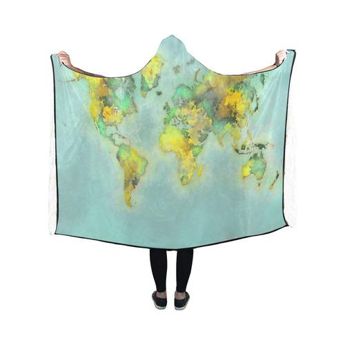 world map green #map #worldmap Hooded Blanket 50''x40''