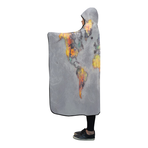 world map grey #map #worldmap Hooded Blanket 80''x56''