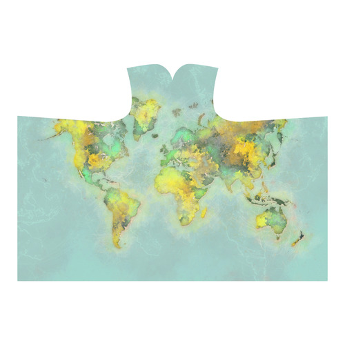 world map green #map #worldmap Hooded Blanket 80''x56''