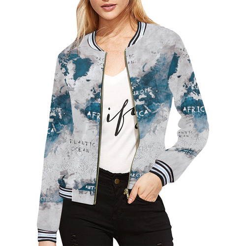 world map OCEANS and continents All Over Print Bomber Jacket for ...
