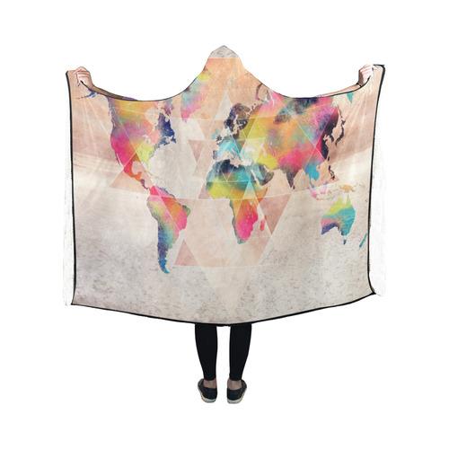 world map Hooded Blanket 50''x40''