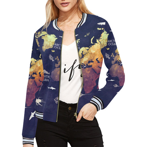 Ocean world map all over print bomber jacket for women model h21 ocean world map all over print bomber jacket for women model h21 gumiabroncs Image collections