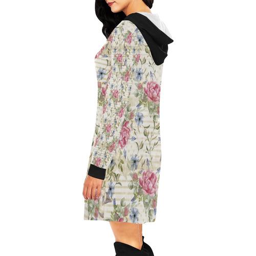 Watercolor Vintage Roses Ribbon Pattern 01 All Over Print Hoodie Mini Dress (Model H27)