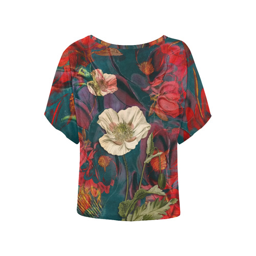 flora 3 Women's Batwing-Sleeved Blouse T shirt (Model T44)