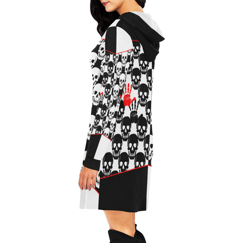 Skulls and Hands - black and white II All Over Print Hoodie Mini Dress (Model H27)