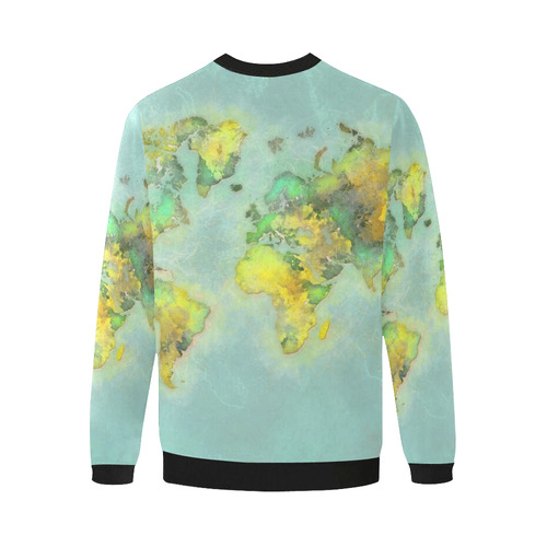 world map green #map #worldmap Men's Oversized Fleece Crew Sweatshirt (Model H18)
