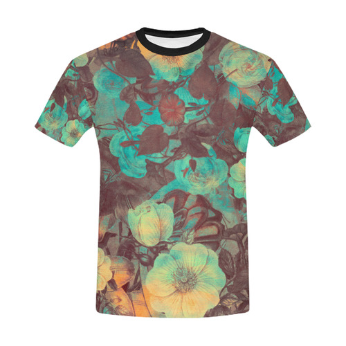 flowers All Over Print T-Shirt for Men/Large Size (USA Size) Model T40)