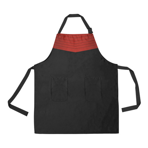 Red Satin-Look Sash and Black Bottom All Over Print Apron