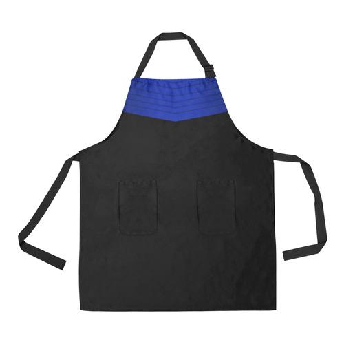 Blue Satin-Look Sash and Black Bottom All Over Print Apron