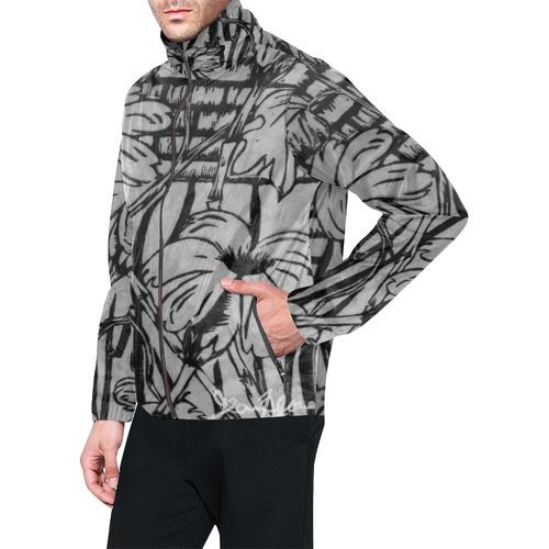Black and white palm flowers Men's All Over Print Windbreaker (Model H23)