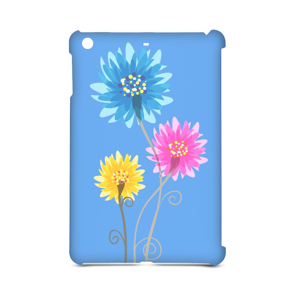 Flowers Yellow Blue Pink on Blue BG