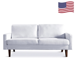Two people linen art sofa contracted style sofa small living room hotel sofa - white