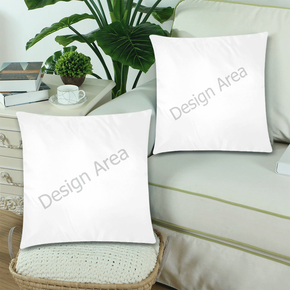 """Custom Zippered Pillow Cases 18""""x 18"""" (Twin Sides) (Set of 2)"""