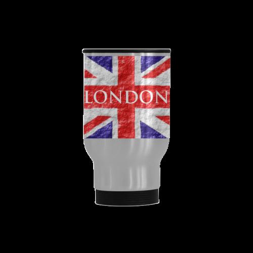 Union Jack Flag Travel Mug (Silver) (14 Oz)