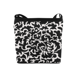 Seamless Floral Pattern Custom Black And White Crossbody Bags (Model 1613)