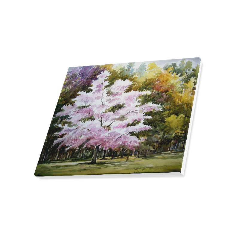 """Beauty of Autumn Forest - Watercolor on Paper Painting Canvas Print 20""""x16"""""""