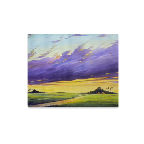 """Beauty of Rural Sunset - Acrylic on Canvas Painting Canvas Print 20""""x16"""""""