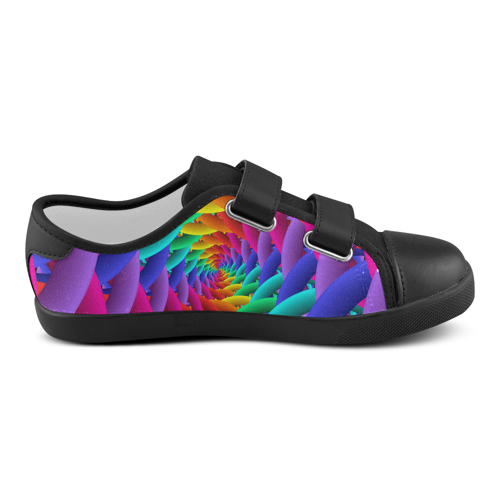 Psychedelic Rainbow Spiral Kid's Shoe Velcro Canvas Kid's Shoes (Model 008)