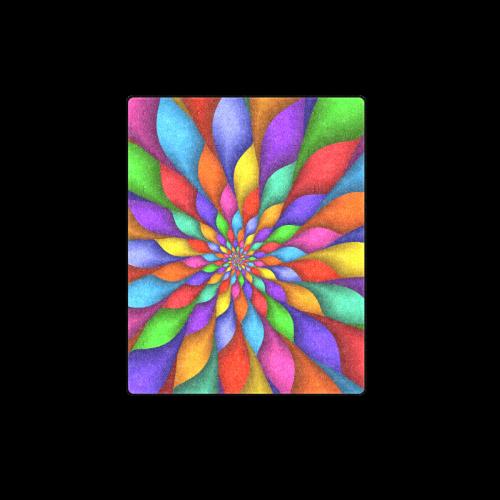 "Psychedelic Rainbow Spiral Blanket 40""x50"""