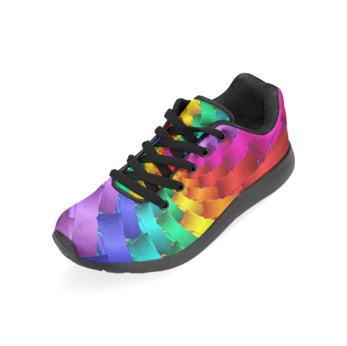 Psychedelic Rainbow Spiral Men's Running Shoes (Model 020)