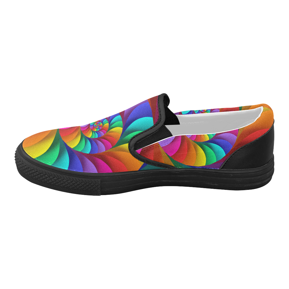 Psychedelic Rainbow Spiral Women's Slip-on Canvas Shoes (Model 019)