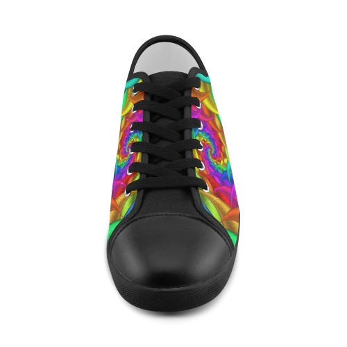 Psychedelic Rainbow Spiral Women's Canvas Shoes (Model 016)