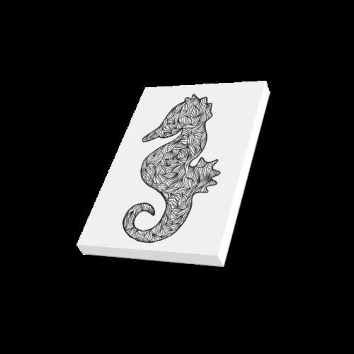 "Black and White Seahorse Canvas Print 8""x10"""