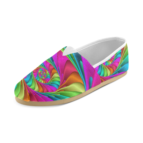 Psychedelic Rainbow Spiral Unisex Casual Shoes (Model 004)