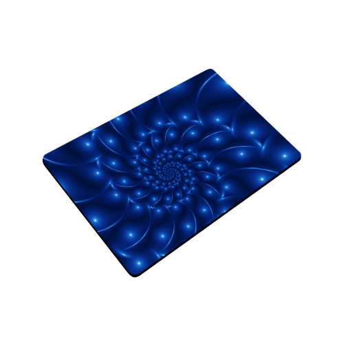 "Blue Glossy Spiral Fractal Doormat 24"" x 16"""