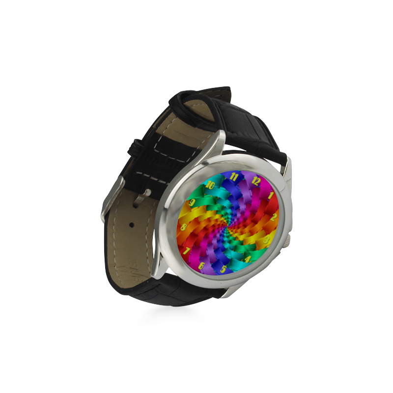 Psychedelic Rainbow Spiral Leather Watch Women's Classic Leather Strap Watch(Model 203)