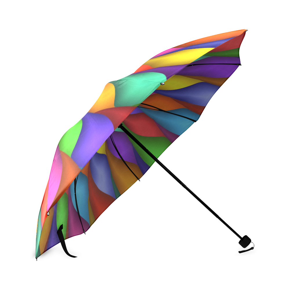 Rainbow Spiral Petals Flower Umbrella Foldable Umbrella (Model U01)