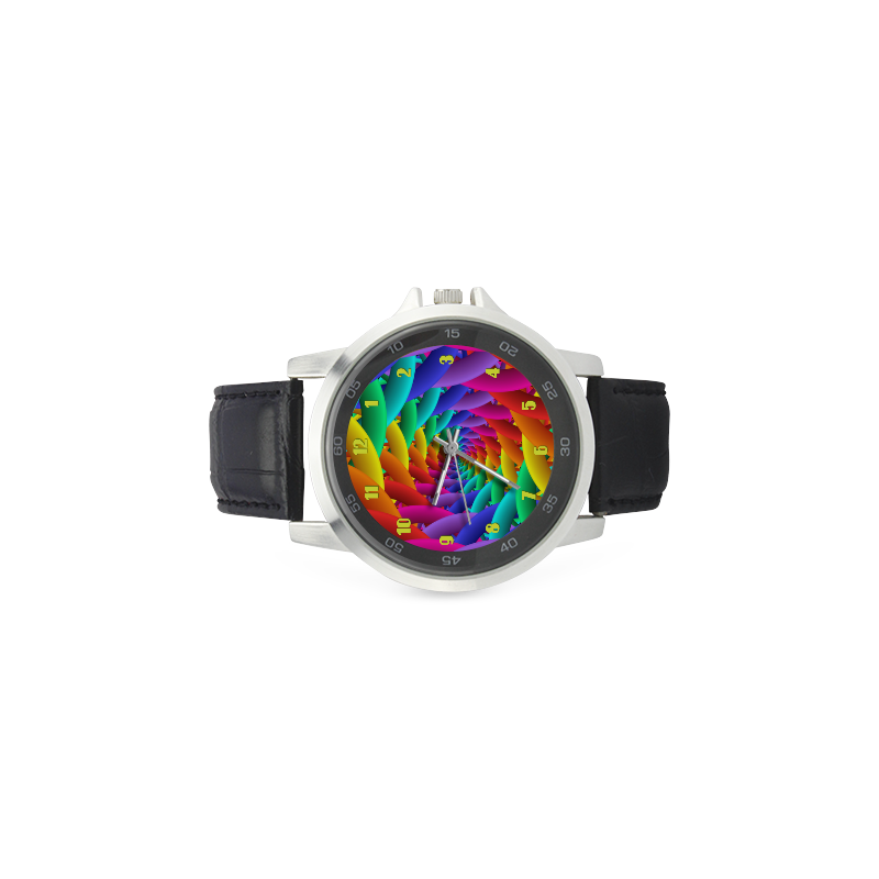 Psychedelic Rainbow Spiral Metal Leather Watch Unisex Stainless Steel Leather Strap Watch(Model 202)