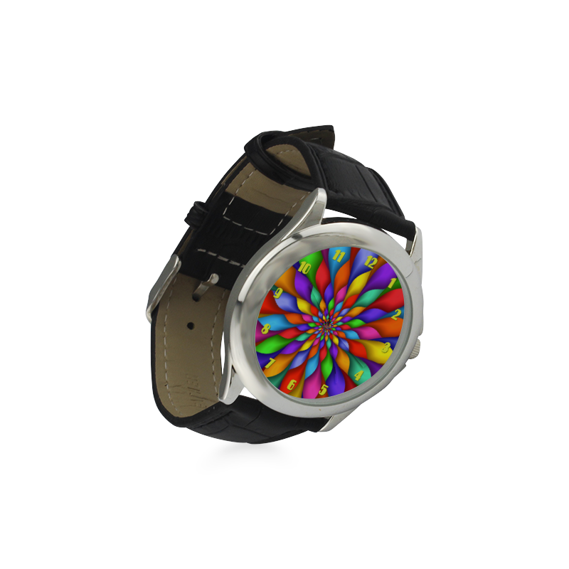 Rainbow Spiral Flower Petals Leather Watch Women's Classic Leather Strap Watch(Model 203)