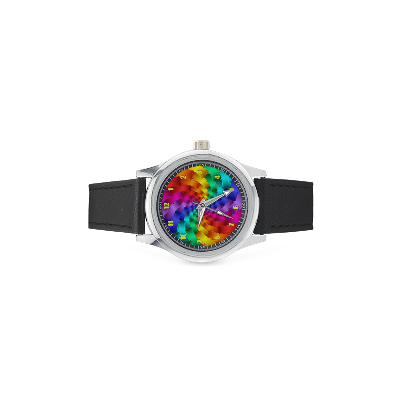 Psychedelic Rainbow Spiral Leather Watch Kid's Stainless Steel Leather Strap Watch(Model 208)