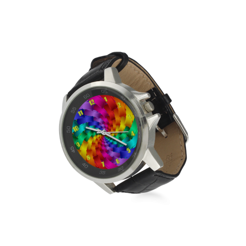 Psychedelic Rainbow Spiral Leather Watch Unisex Stainless Steel Leather Strap Watch(Model 202)