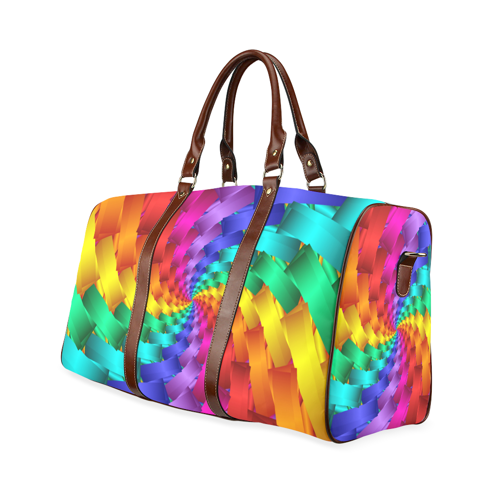 Psychedelic Rainbow Spiral Waterproof Travel Bag Waterproof Travel Bag/Large (Model 1639)